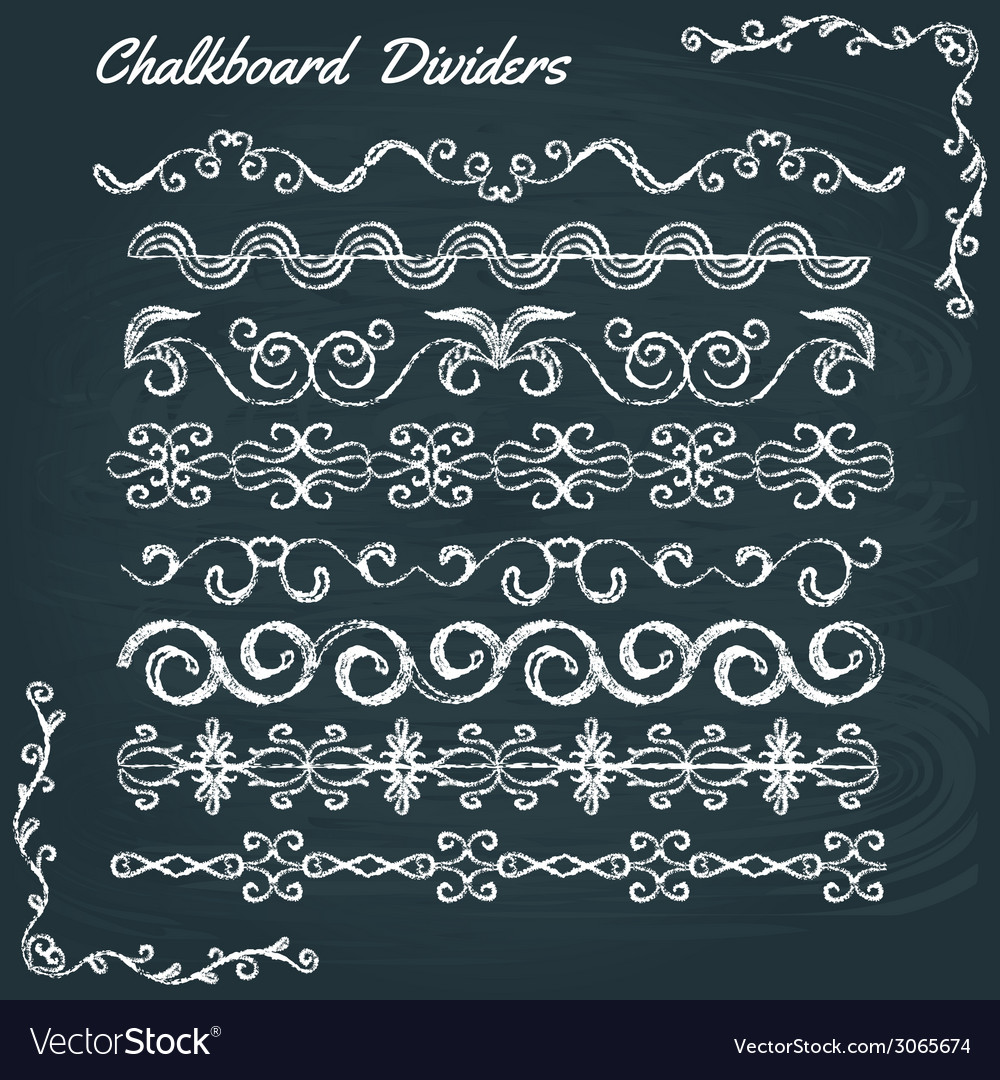Collection of chalkboard dividers vector image