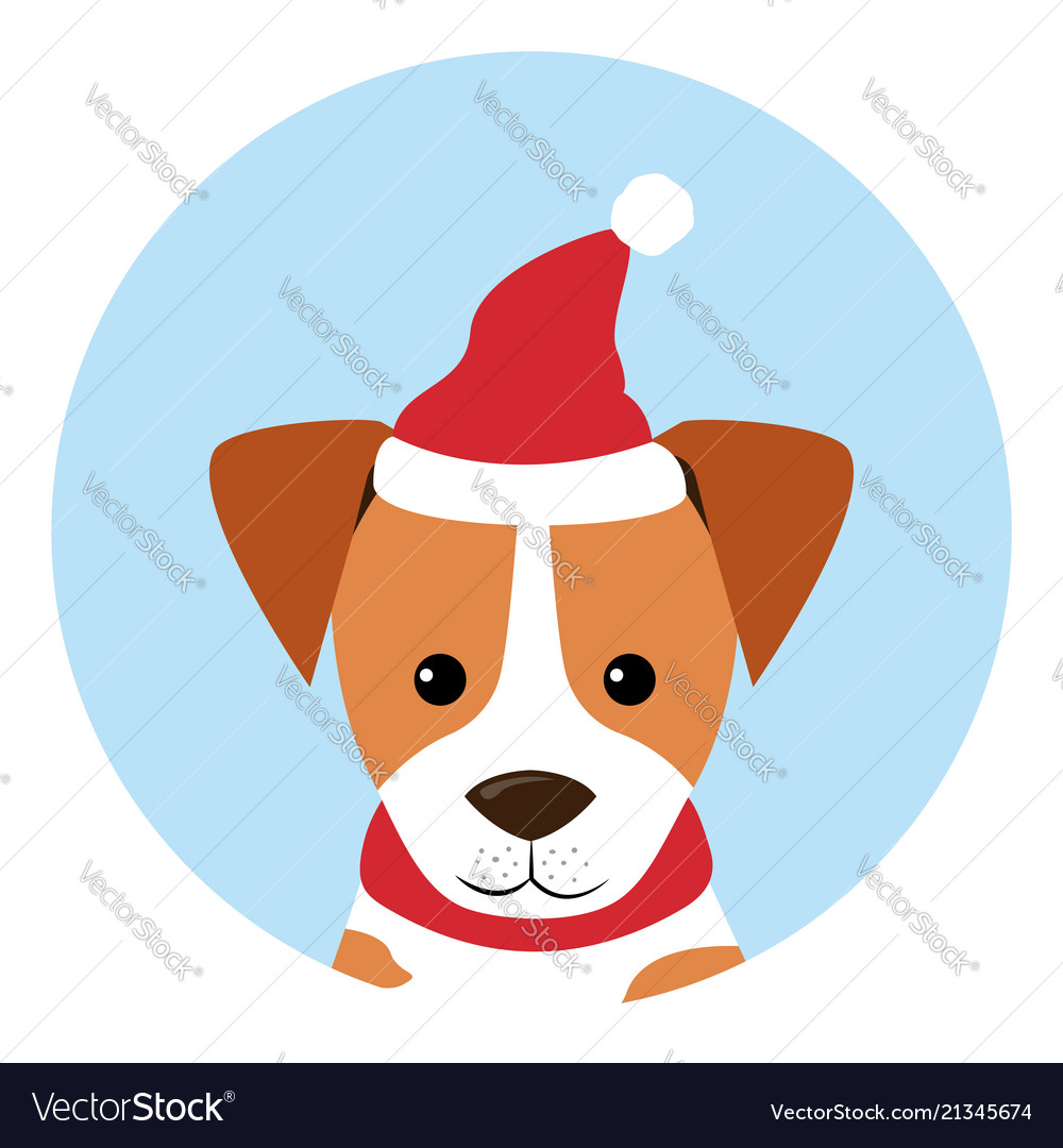 Dogs icon wearing red hat santa claus