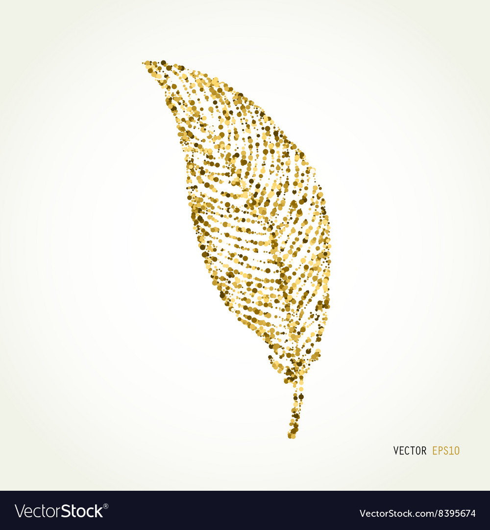 Gold glitter feather sign sparkles isolated on