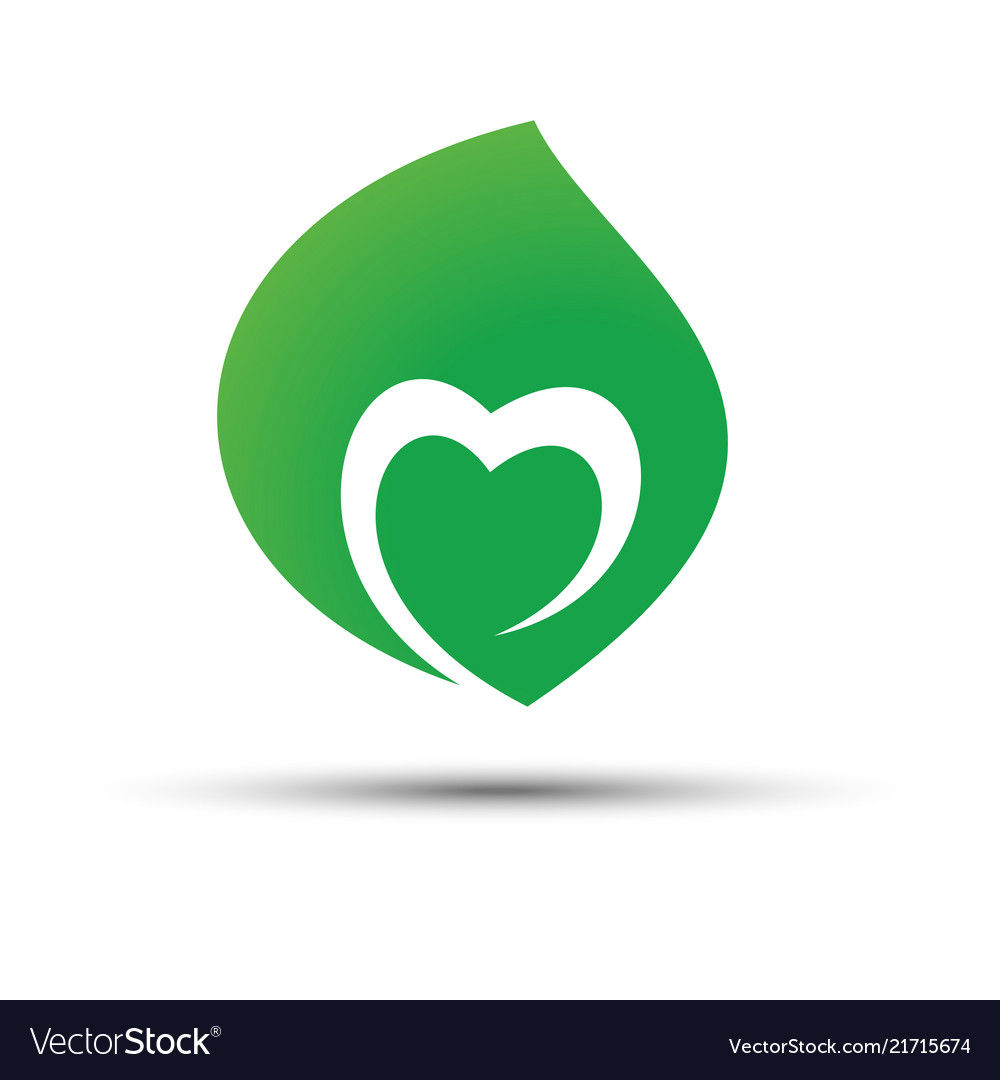 Green leaf with heart shape inside icon concept