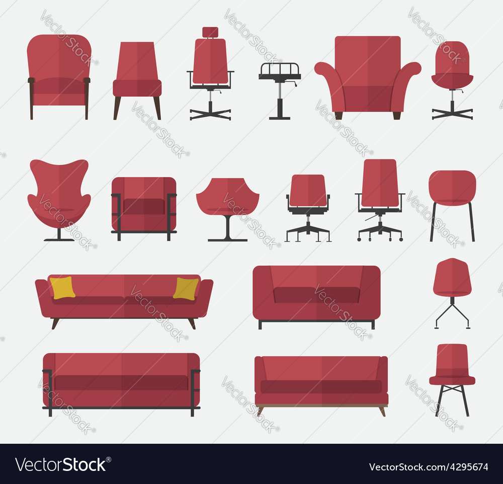 Icon set of home and office furniture interior