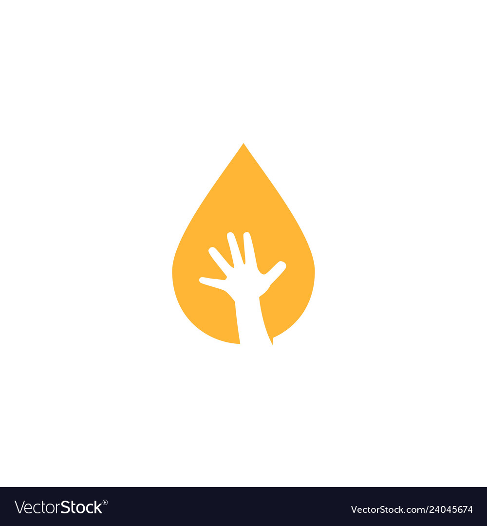 Oil drop child baby oil hand logo icon
