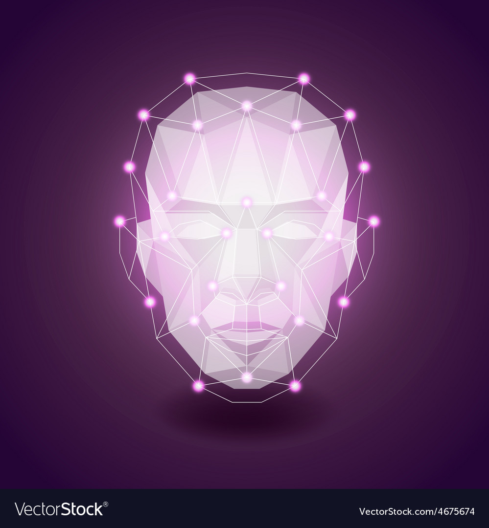 Polygonal face on dark background