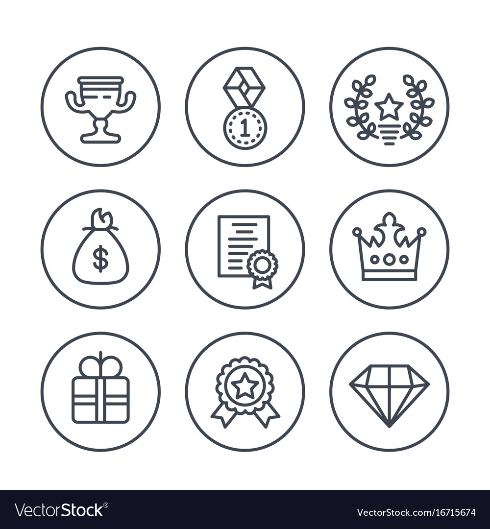 Rewards and prizes line icons on white vector image