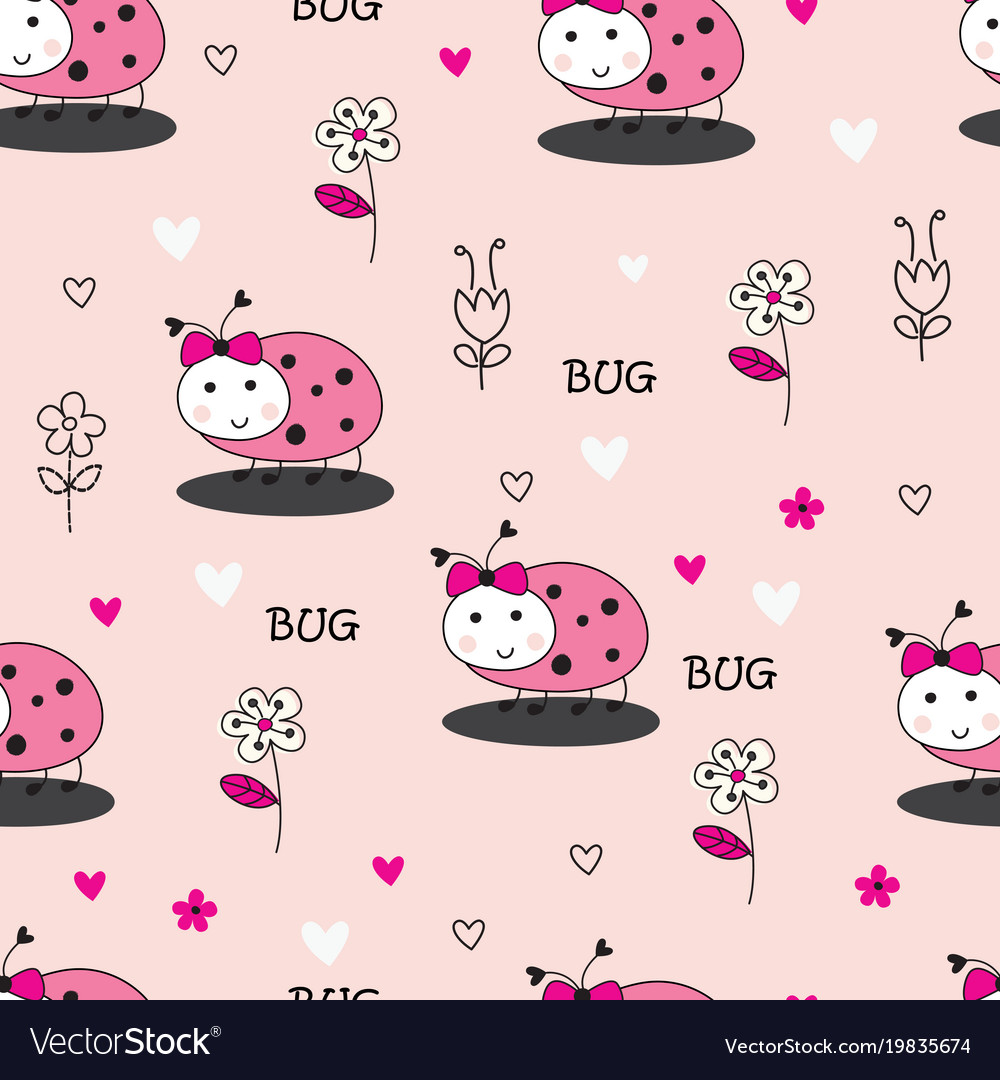 Seamless pattern with bugs and flowers