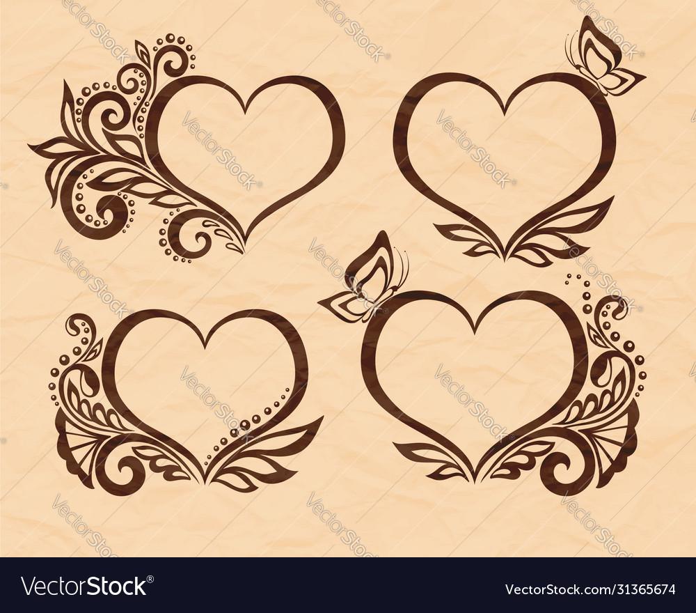 Set beautiful black-and-white symbol a