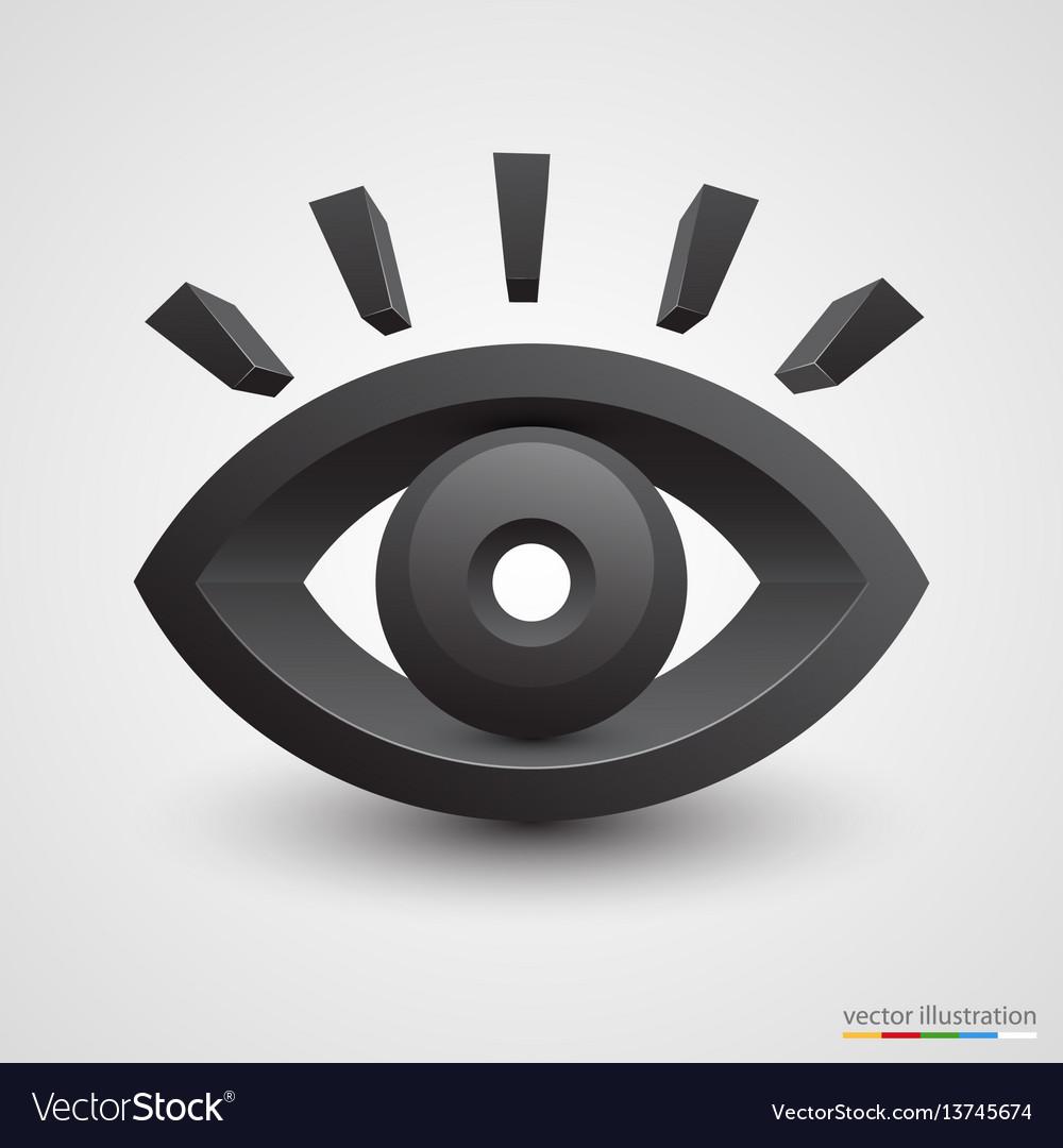 Three-dimensional black eye on white background