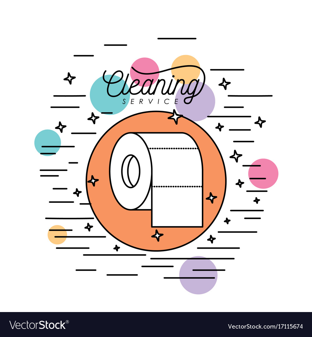 Toilet paper cleaning service silhouette in vector image