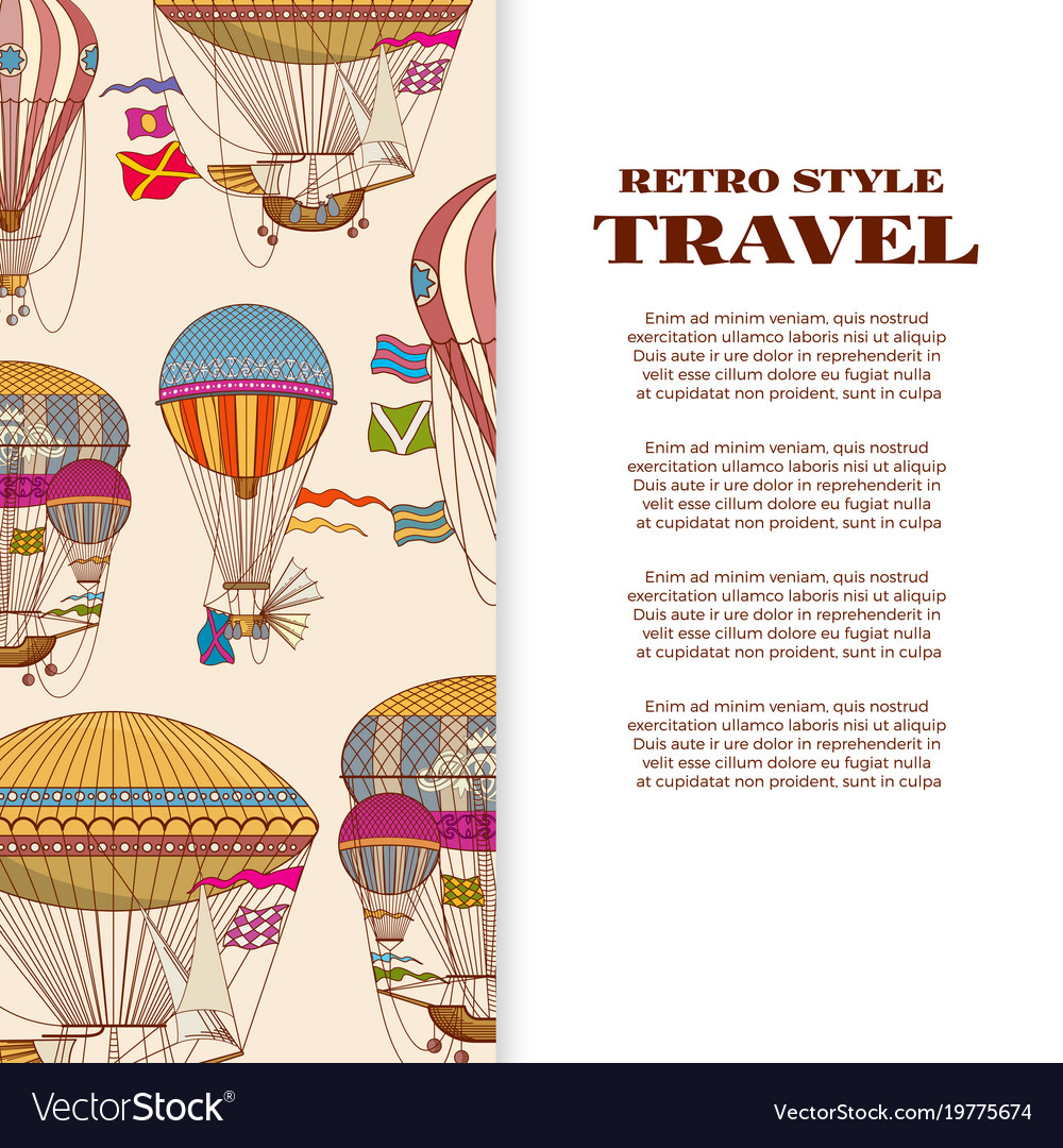 Travel banner with vintage bright hot air balloons