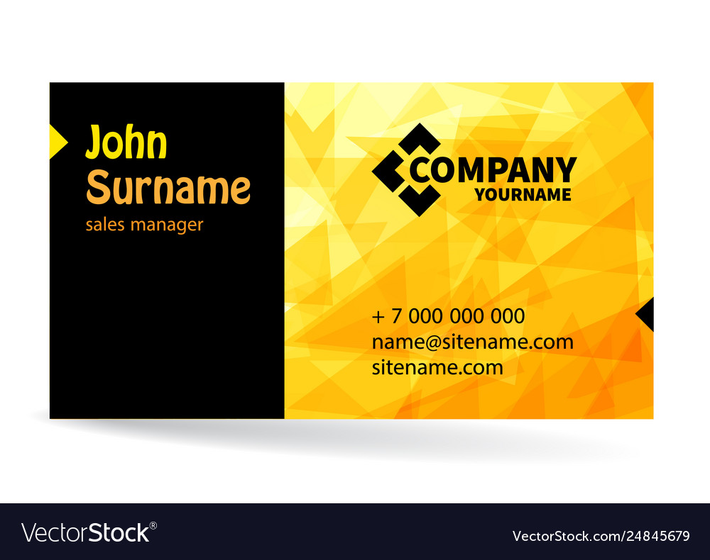 Business card bright design with yellow background