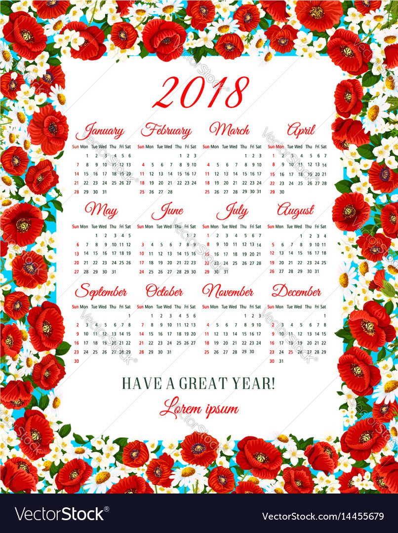 calendar 2018 of spring flowers frame vector image