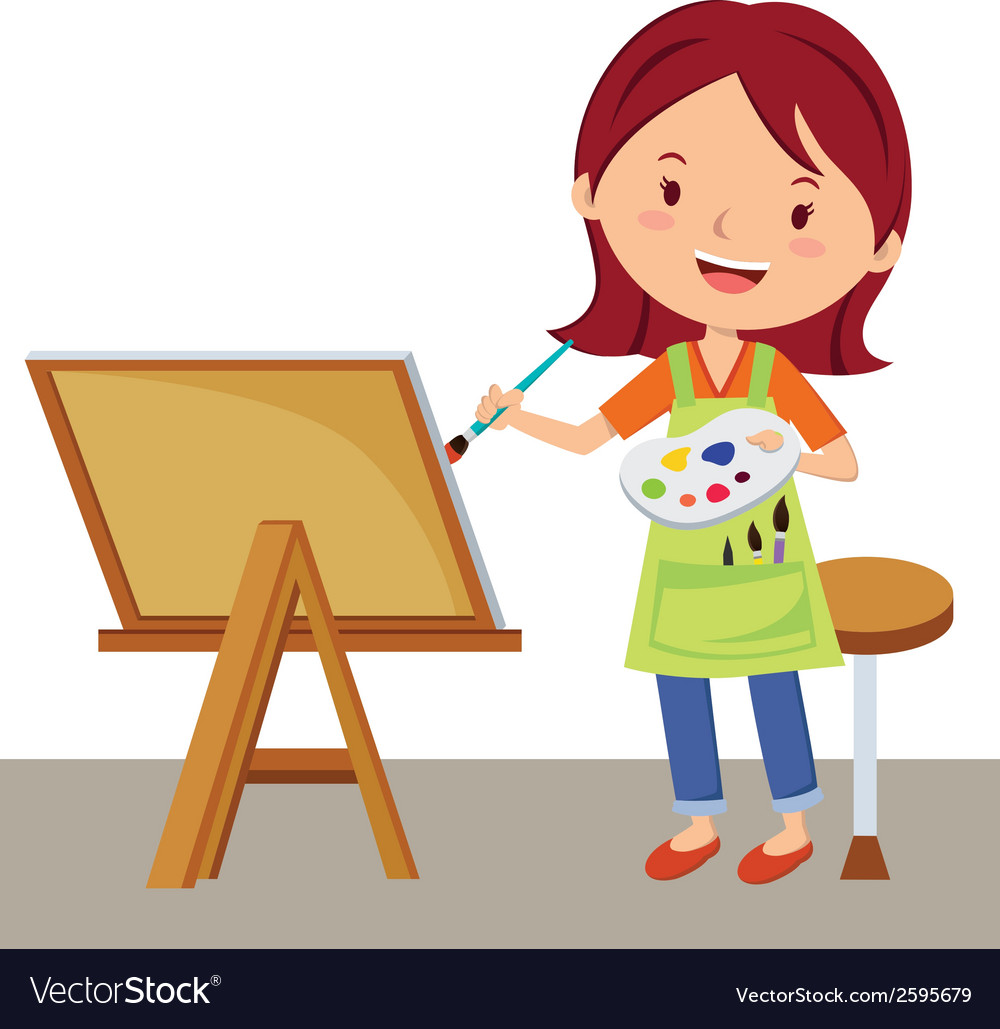 Cartoon Artist Painting Royalty Free Vector Image
