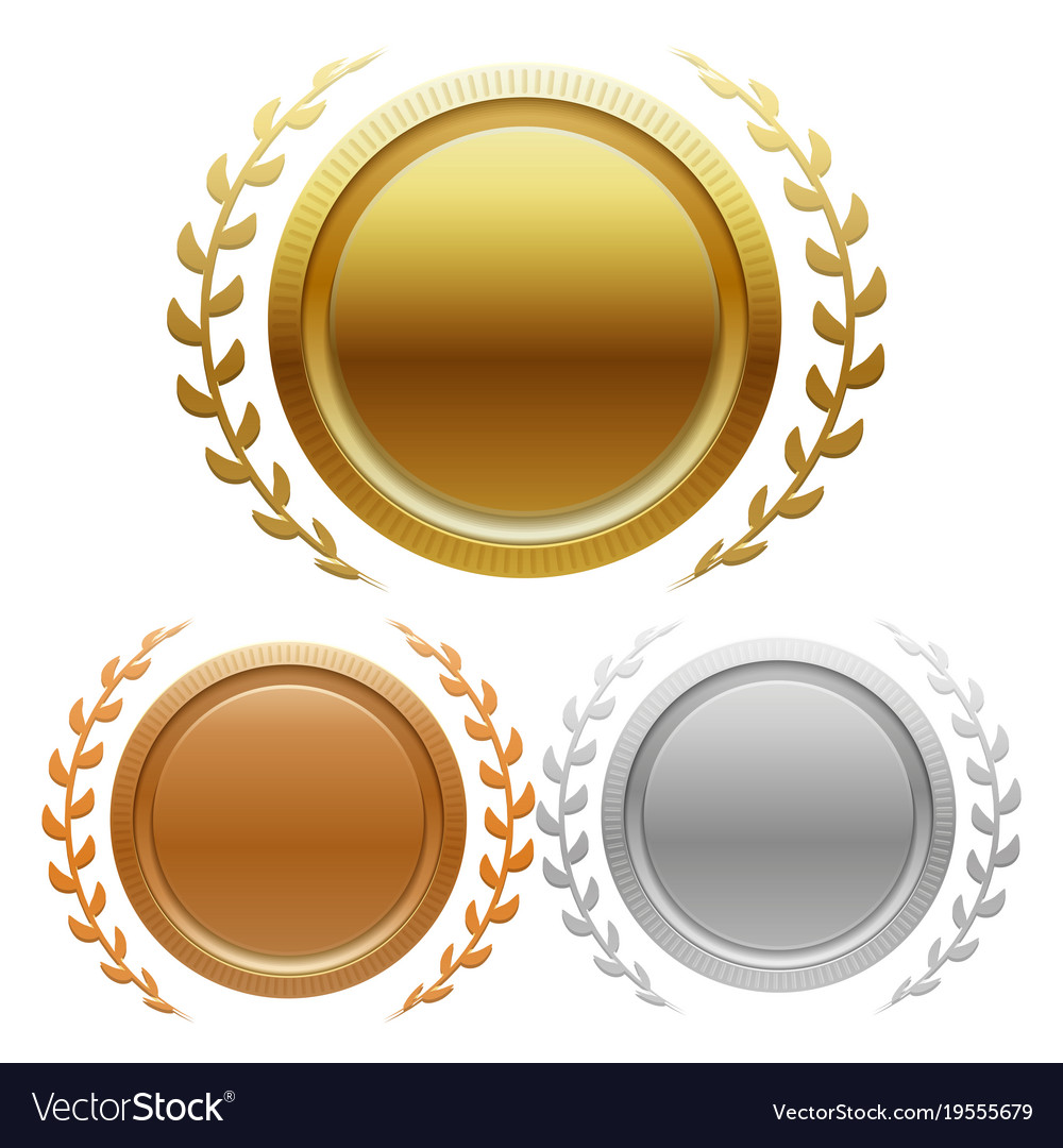 Champion gold silver and bronze award medals