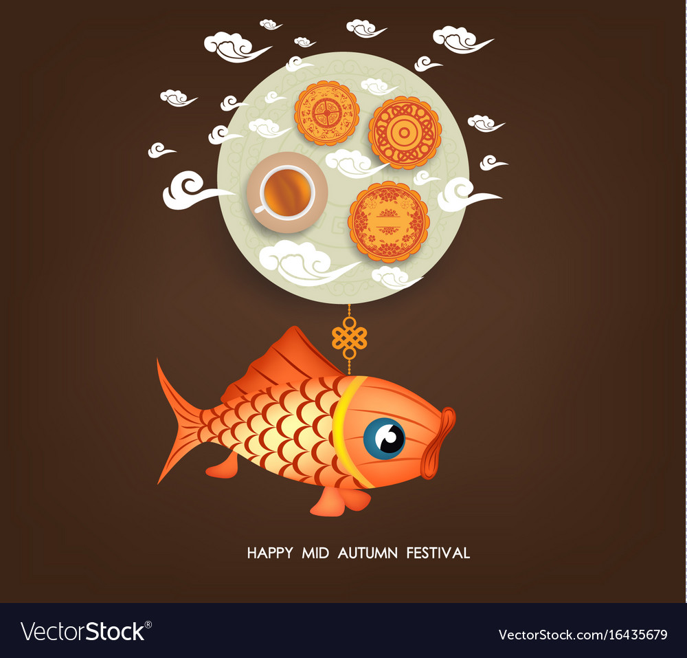Chinese mid autumn festival background with carp