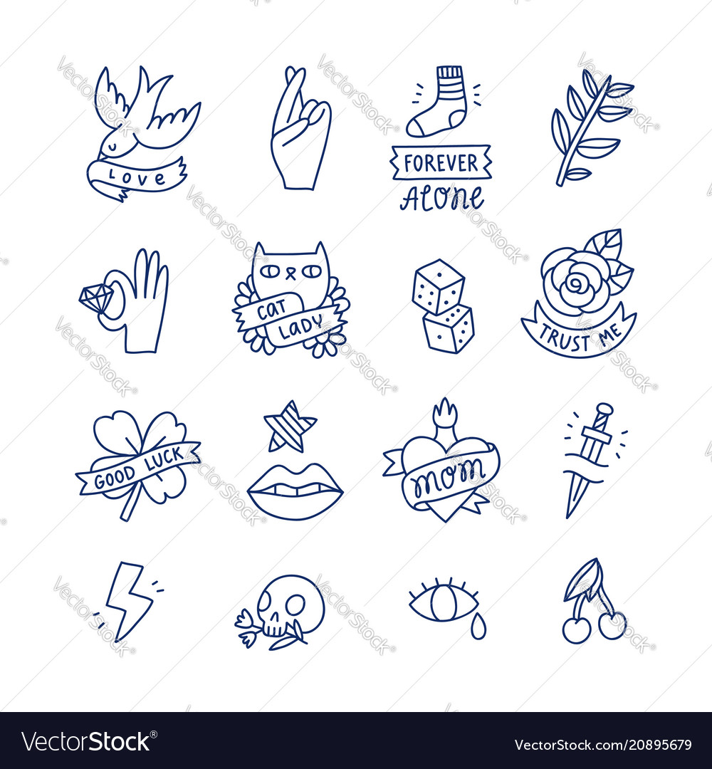 Cool doodle tattoo set vector