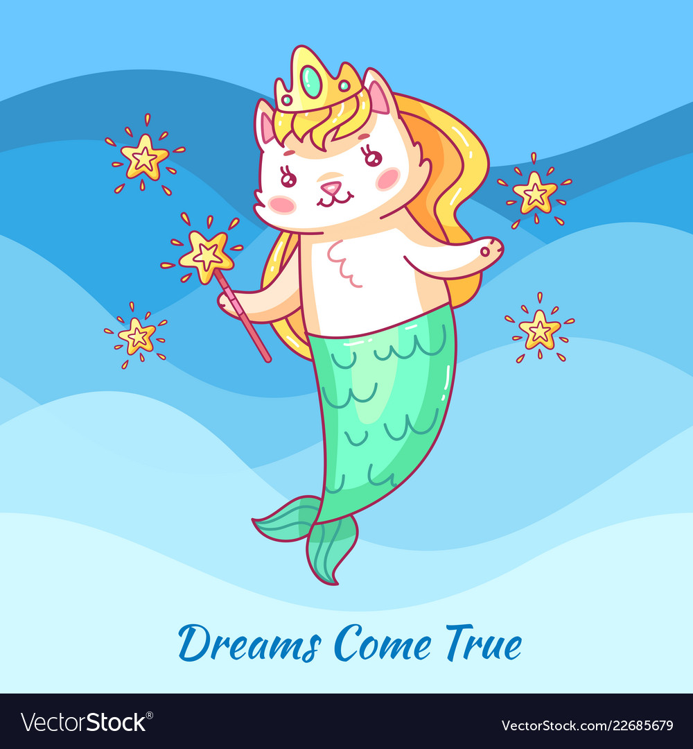 Cute cat mermaid cartoon unicorn cat dewams come