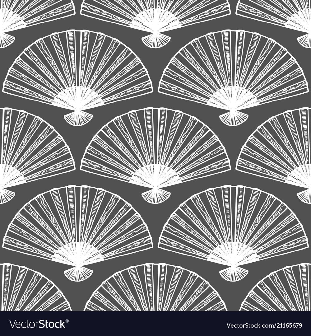 Dark fan seamless pattern in hand-drawn style