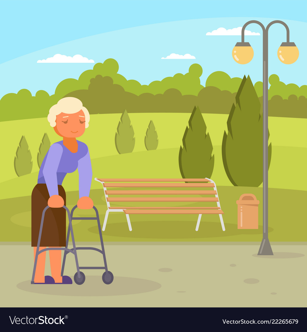 Disabled senior woman with walking frame