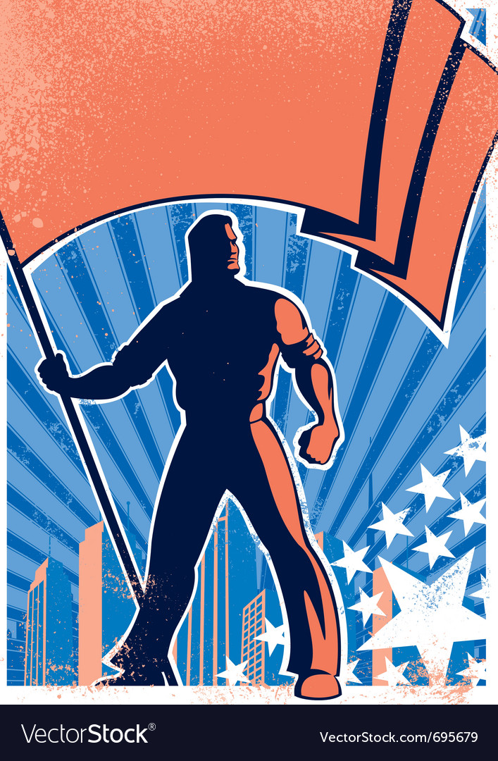 Flag bearer poster 2 vector image