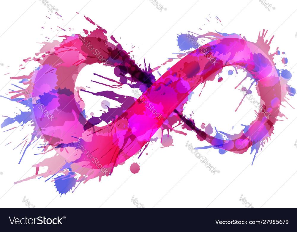 Infinity symbol made colorful grunge splashes