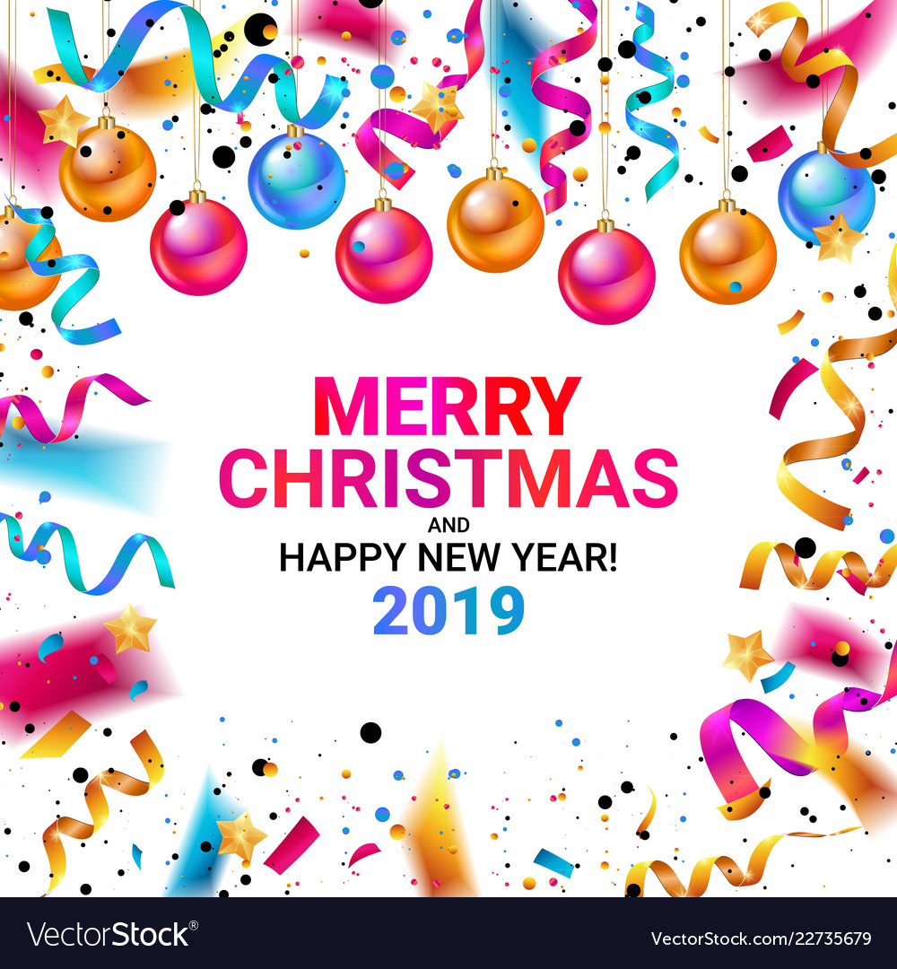 merry christmas and happy new year 2019 vector image