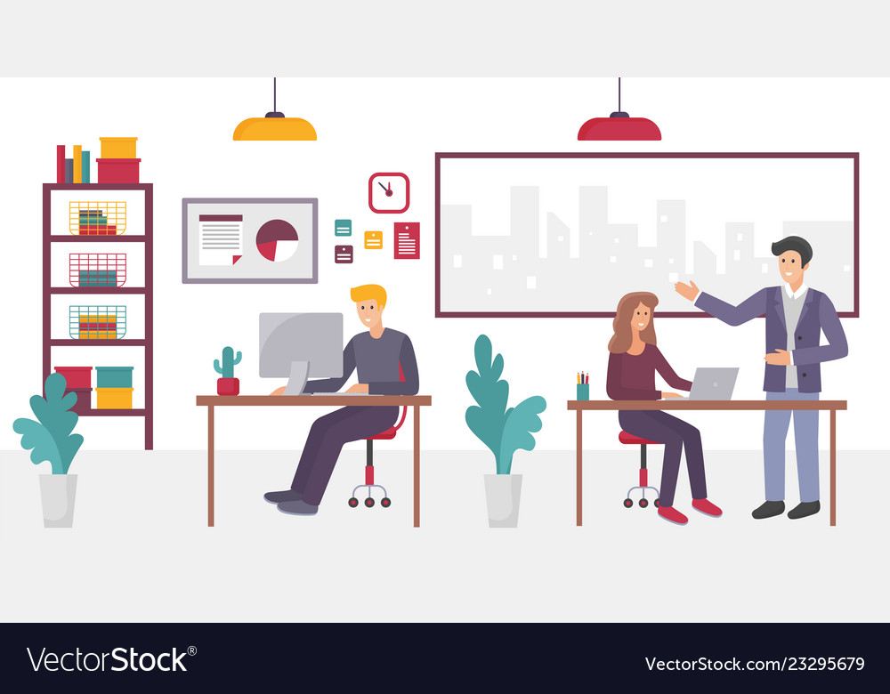 People in creative coworking office center in
