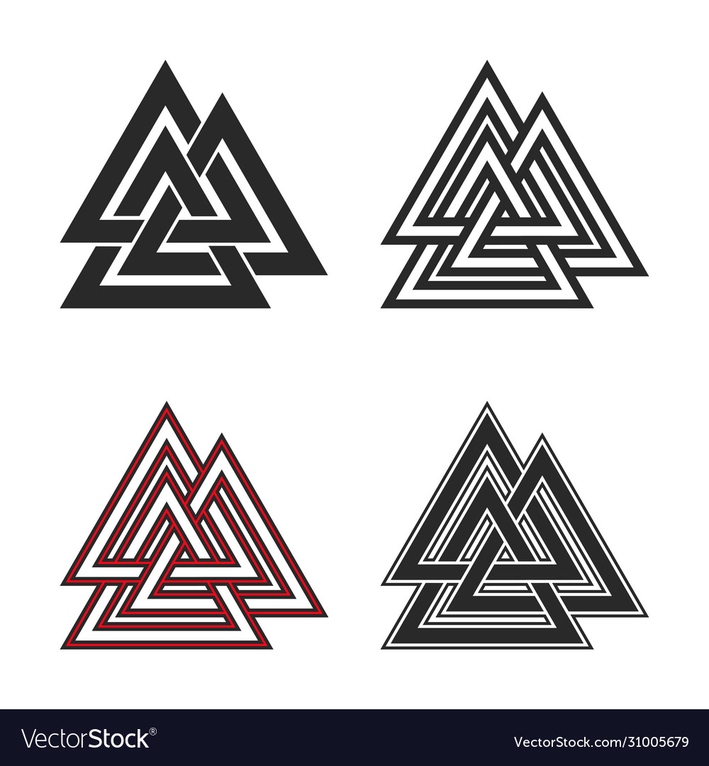 Set valknut symbols flat and line style