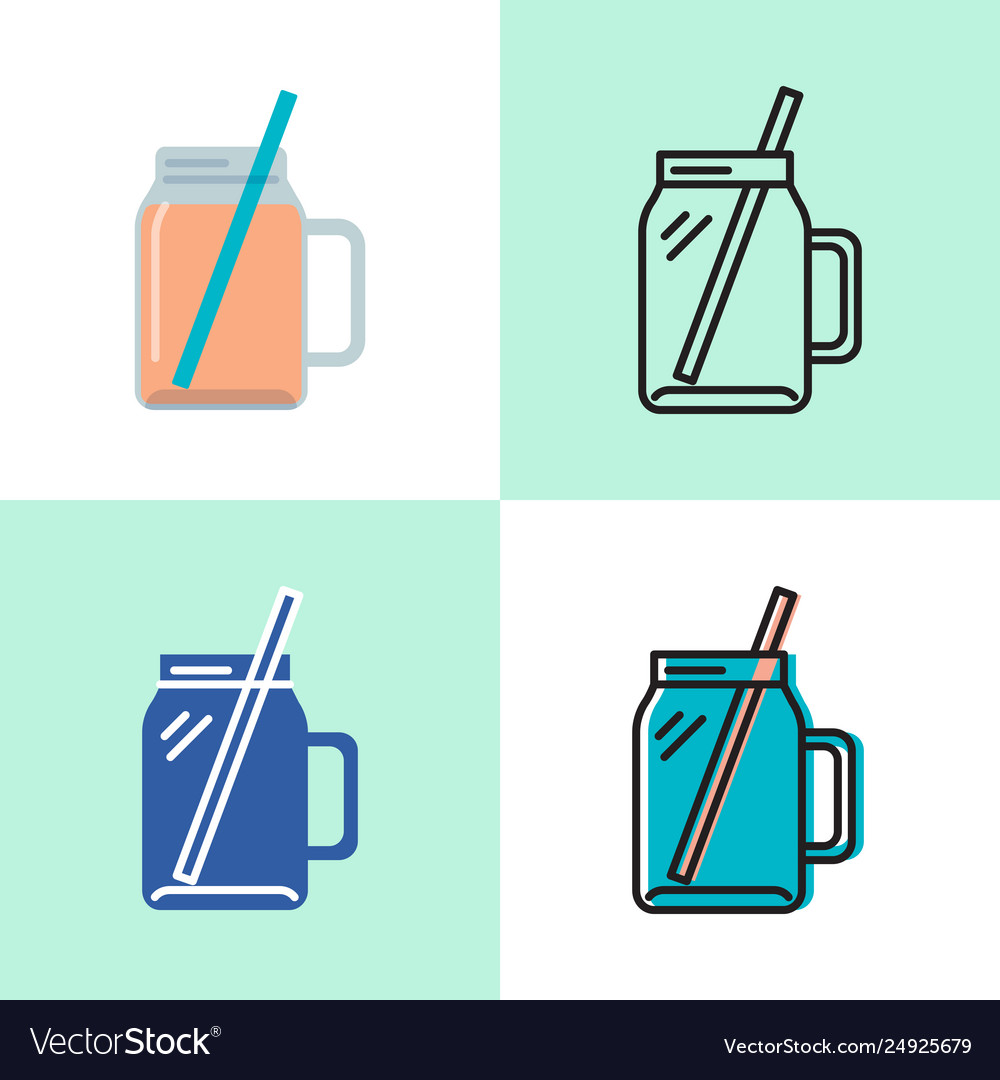 Smoothie cup icon set in flat and line styles