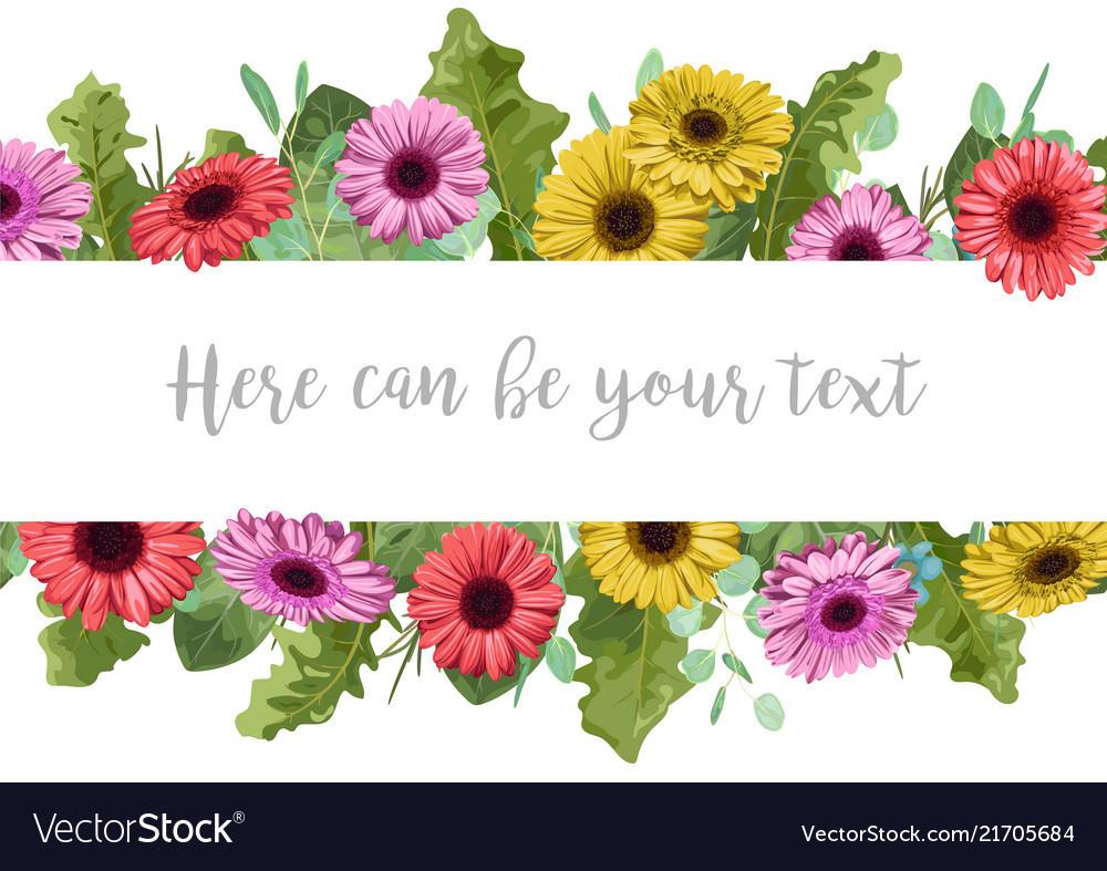 Beautiful floral banner frame with multi-colored
