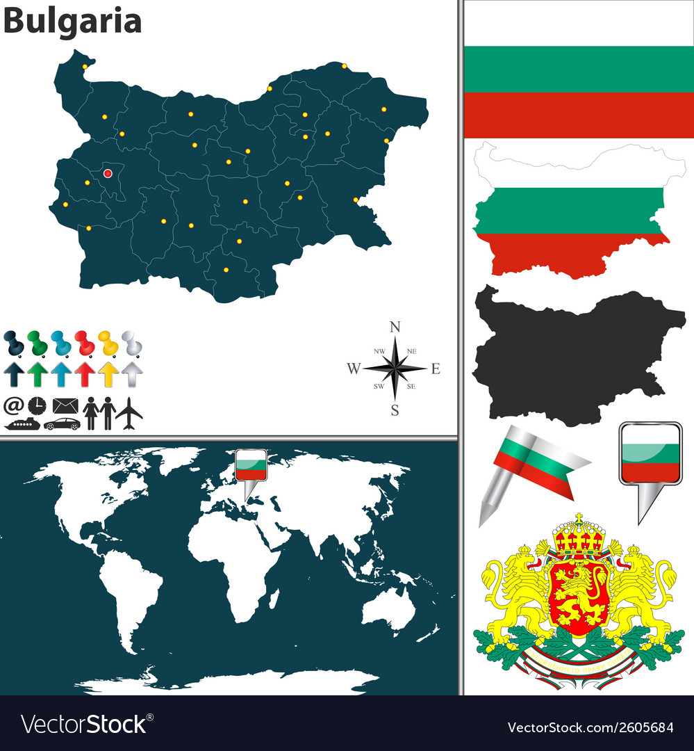 Bulgaria On Map Of World.Bulgaria Map World Royalty Free Vector Image Vectorstock