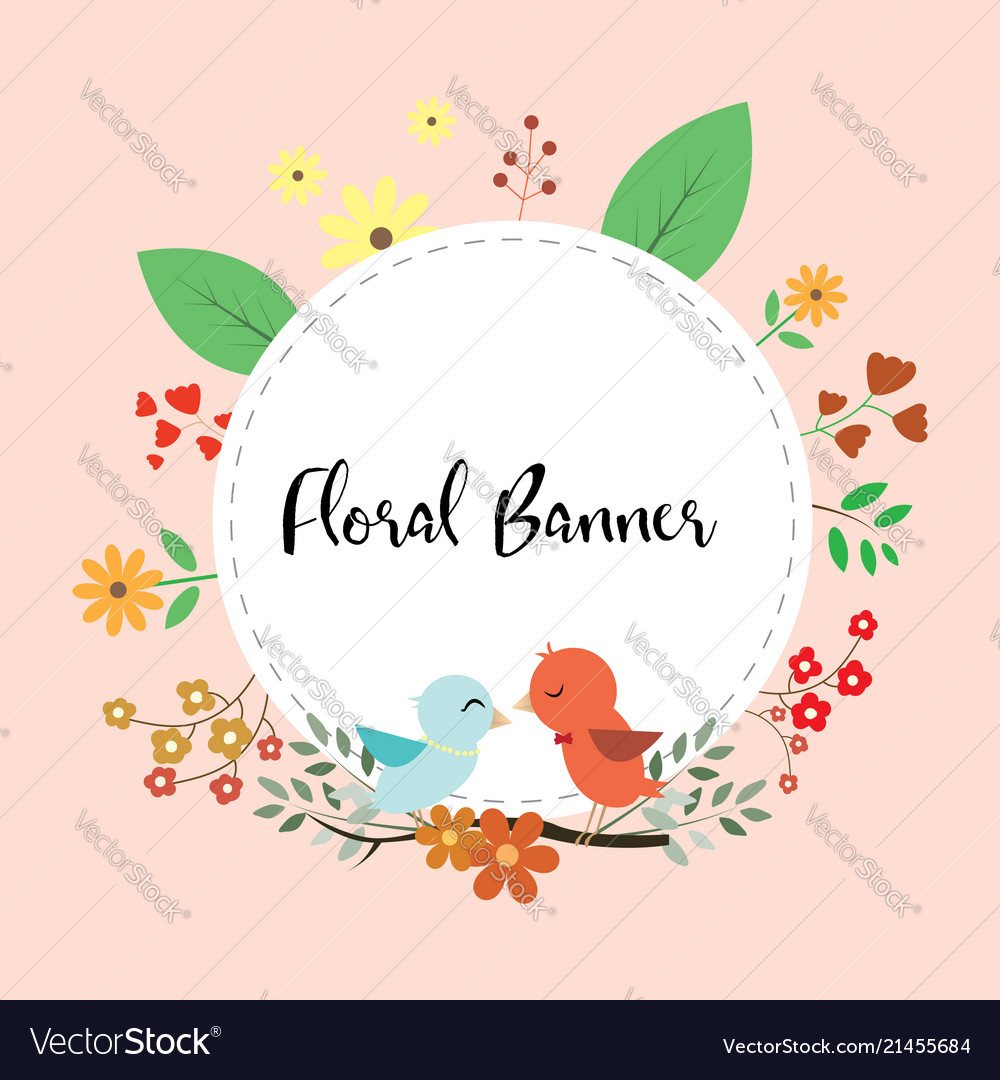 Design of floral banner with love birds couple