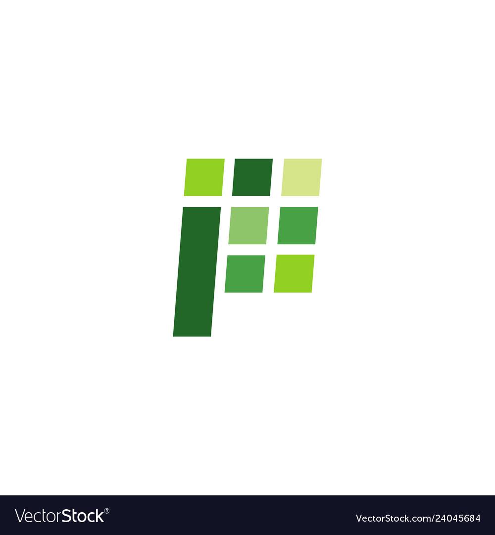 P letter logo digital sign icon