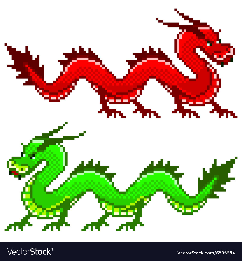 Pixel dragon isolated