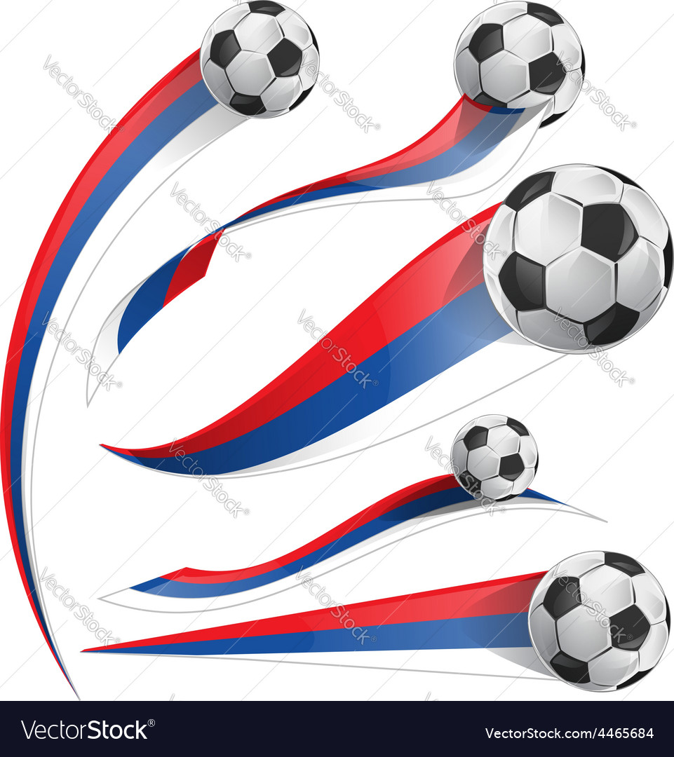 Russian flag set with soccer ball Royalty Free Vector Image 2a092ce887d0