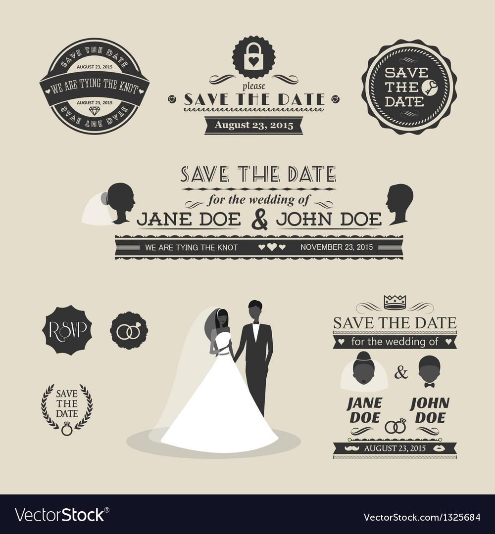 Set of wedding typography vector image
