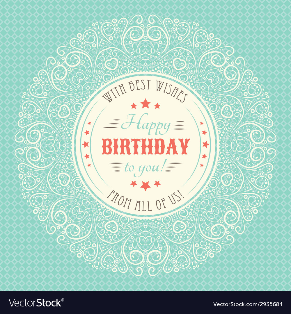 Vintage Happy Birthday Card Typography Letters Vector Image