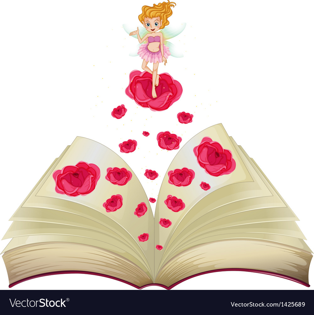 A book with an image of a fairy above a big rose