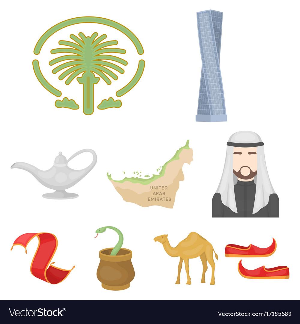 Arab emirates set icons in cartoon style big