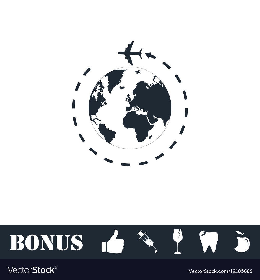 Around world icon flat