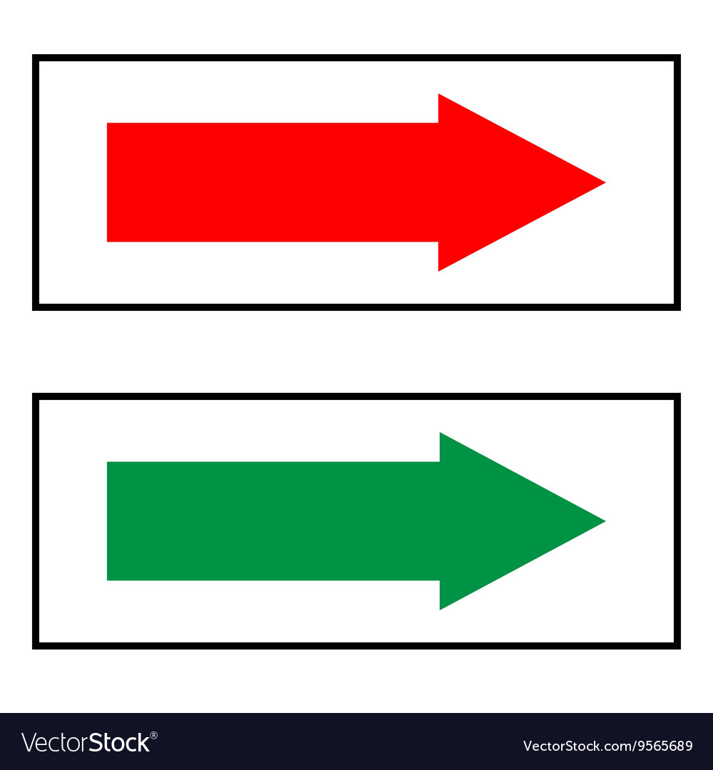 Arrow sign red and green icon isolated on white