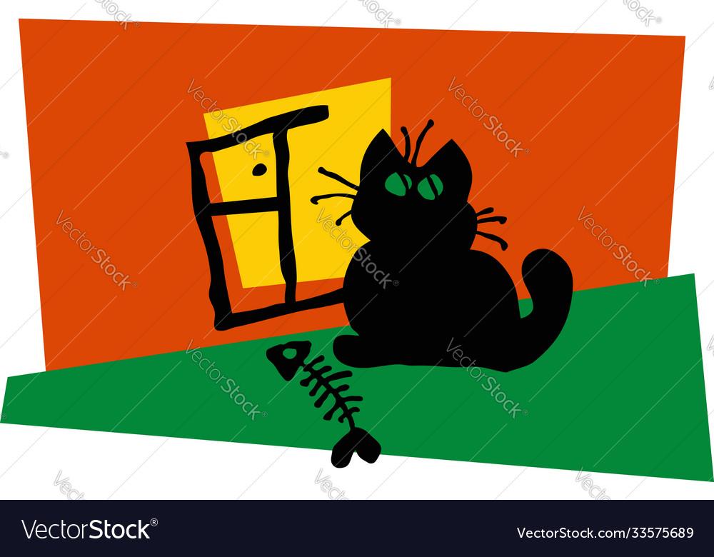Black cat sitting window