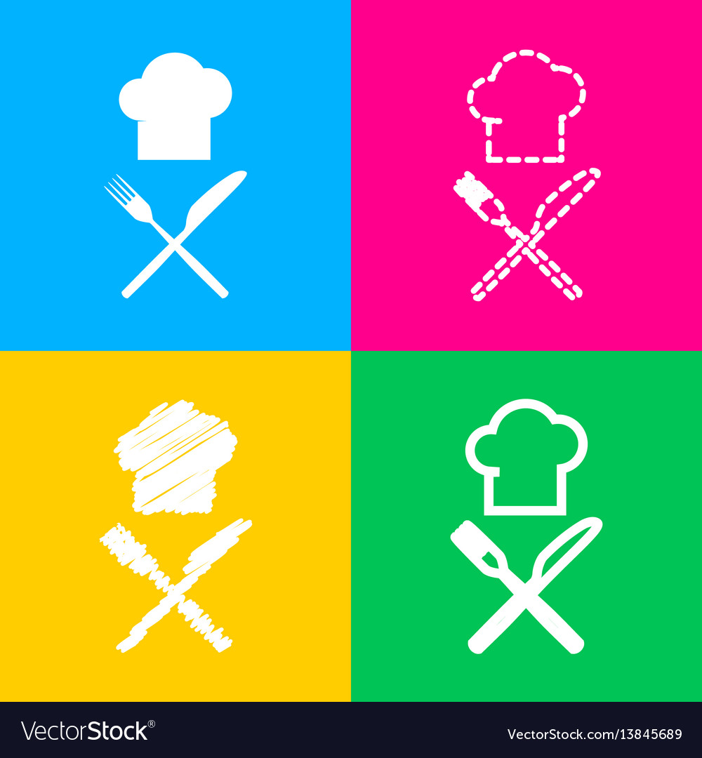 Chef with knife and fork sign four styles of icon