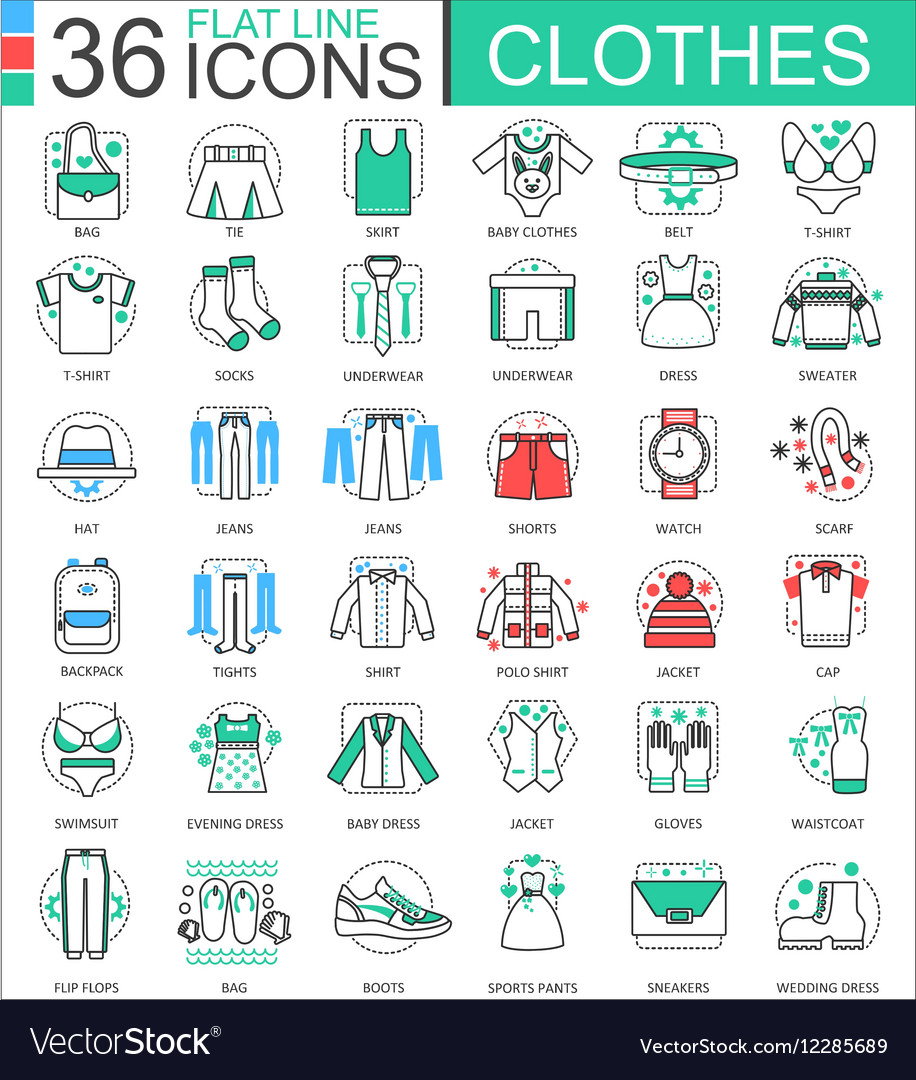 Clothes shoes flat line outline icons for