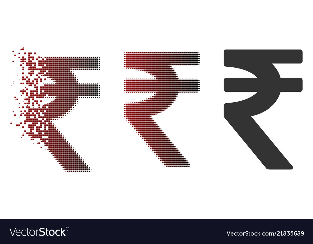 Dissolved Dotted Halftone Indian Rupee Icon Vector Image