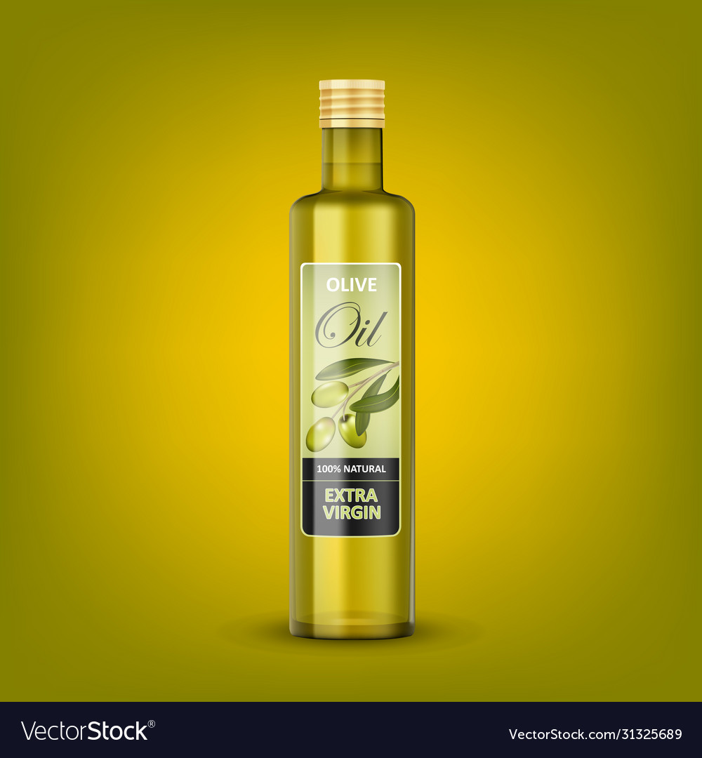 Glass transparent olive oil bottle mockup isolated