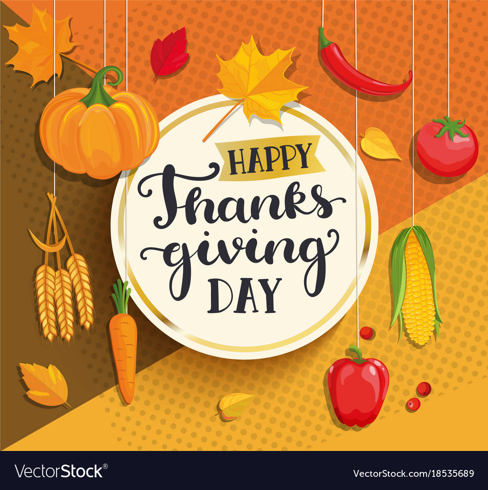 Happy thanksgiving day card on geometric