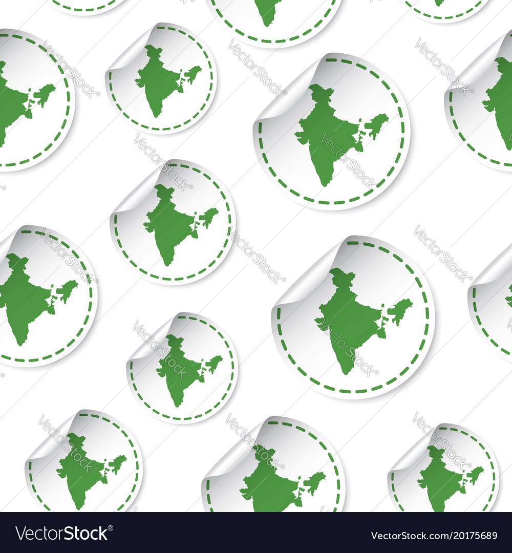 India map sticker seamless pattern background vector image