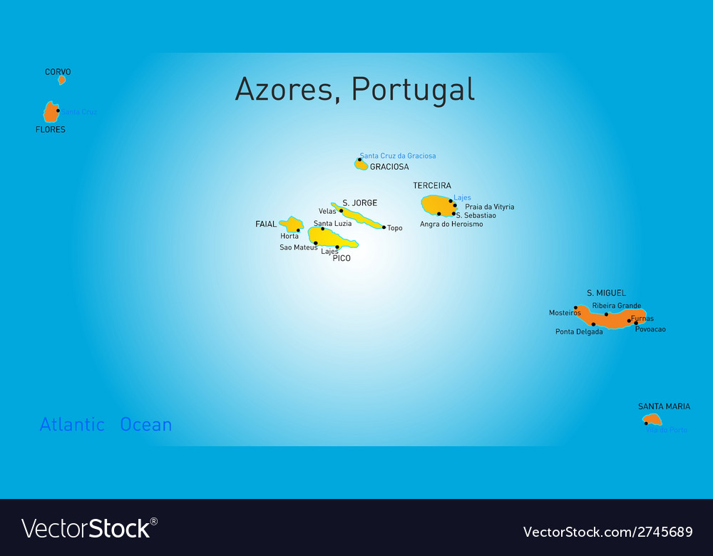 Map Of Azores Map of Azores Royalty Free Vector Image   VectorStock Map Of Azores