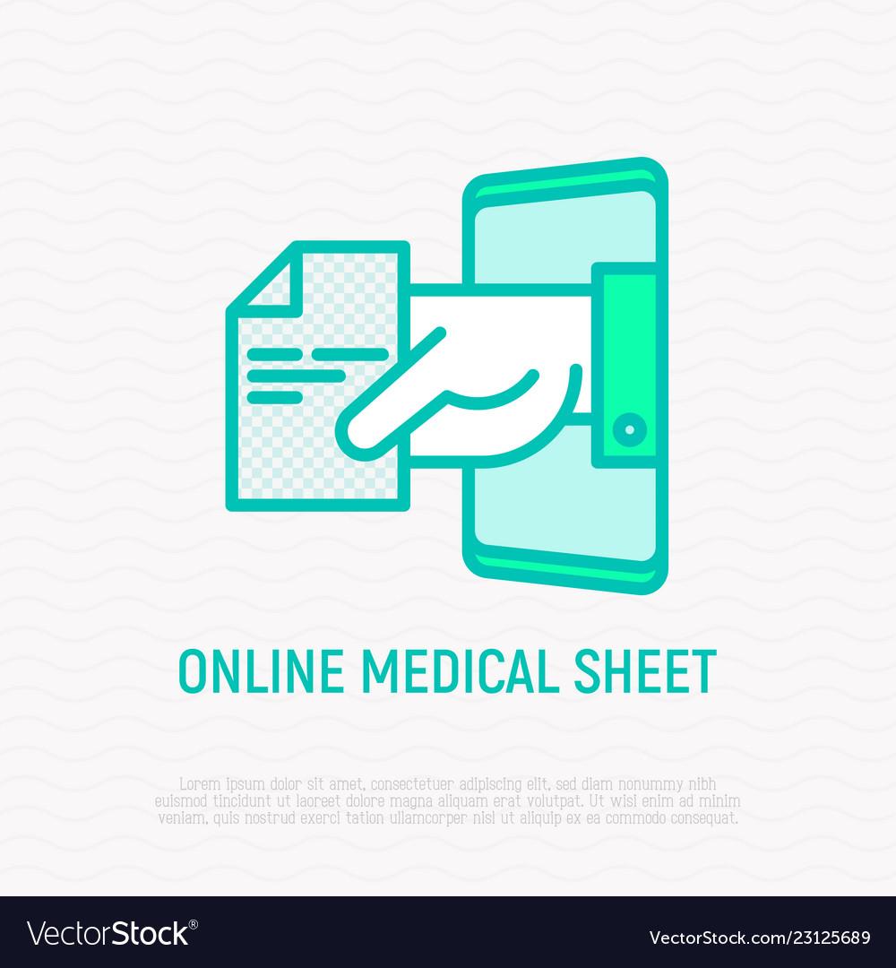Online medical sheet prescription thin line icon