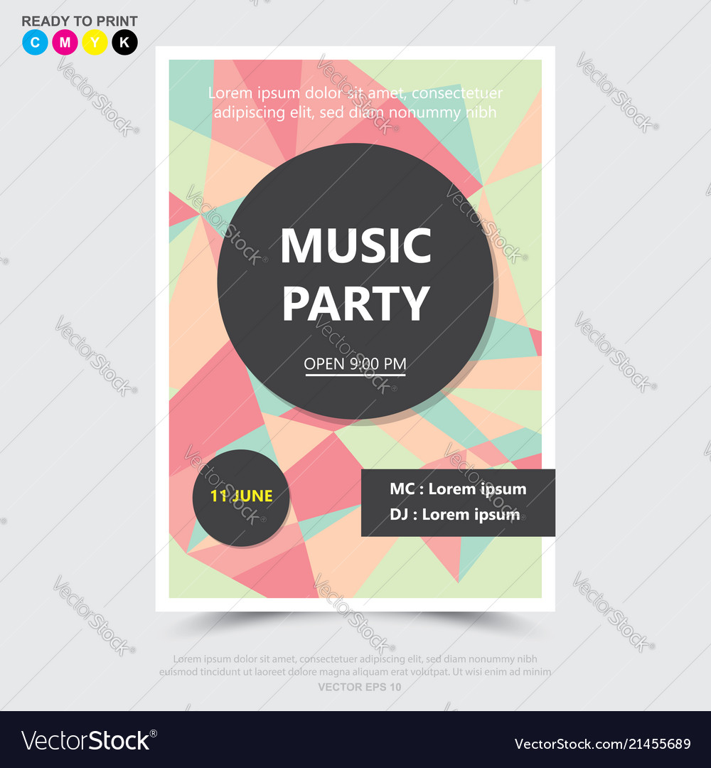 Party music posterbrochureflyer design template
